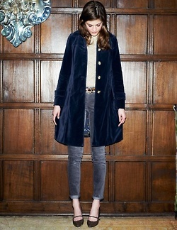 navy velvet swing coat, cigarette pant