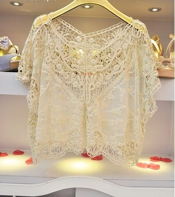 Crochet Batwing Top Free Pattern : Beautiful lace blouse for summer evening Outfits I love ...