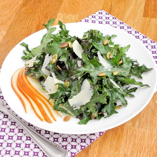 Lemony kale, pear, and pepitas salad