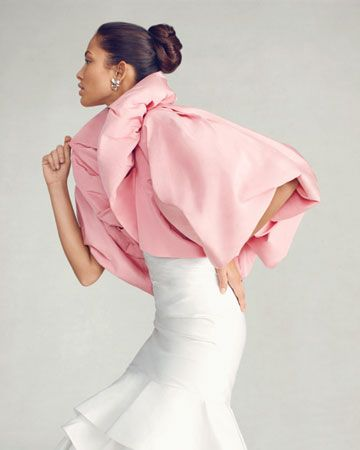 A silk faille bolero in full-on flamingo pink to spice up your wedding day look