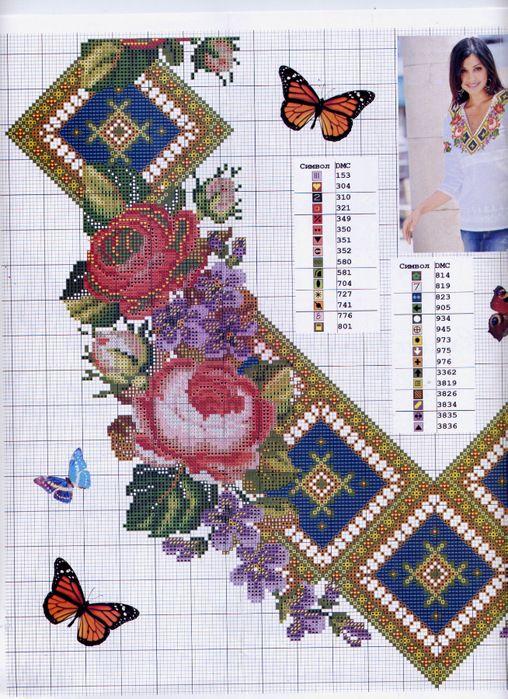 Схемы вышивки крестом для женских блузок