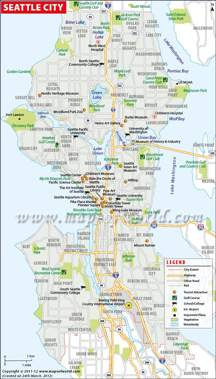 Seattle City Map Maps of World