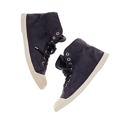 bensimon high tops: Cotton canvas upper, rubber sole in slate grey.