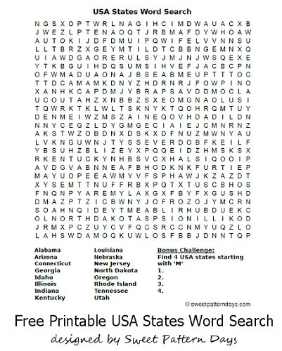 USA States Word Search | School | Pinterest