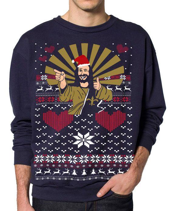 Ugly Christmas sweater -- Jesus Santa -- pullover sweatshirt -- s m l