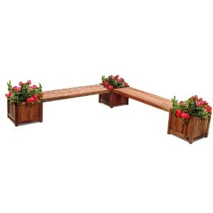 Outdoor Wood Double Bench and Flower Box Combo, Natural Wood Finish, 96 by 96 by 19-Inch