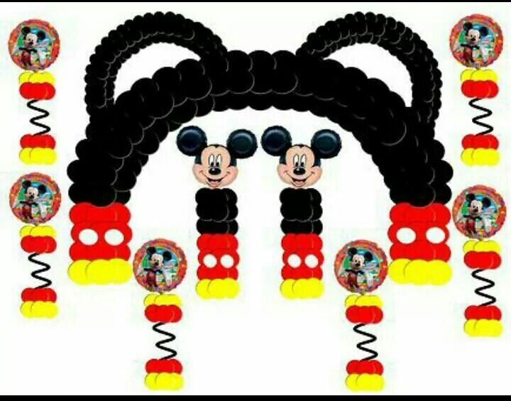 Mickey Mouse Party Theme Arch & Columns.