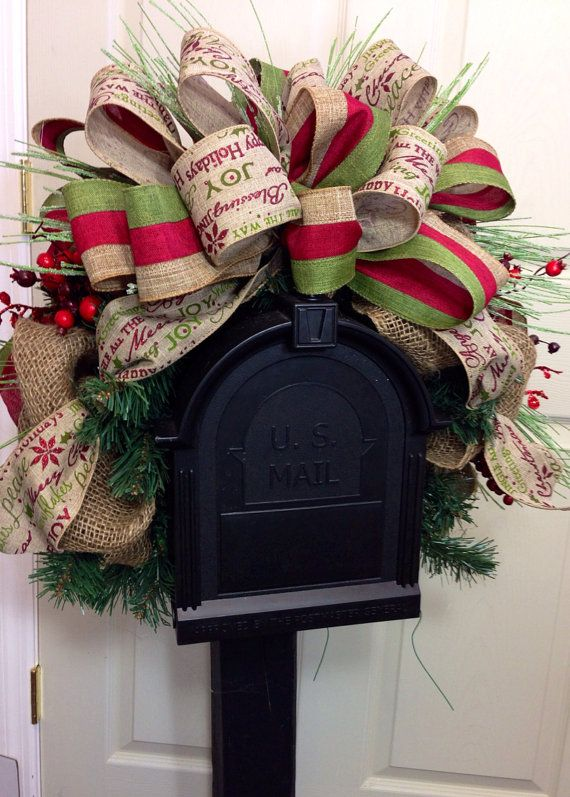 Rustic Mailbox Swag on Etsy, $45.00 Christmas Home Some Different Ideas for a Christmas Home 8be88d9e33449c461beda8f332949b85