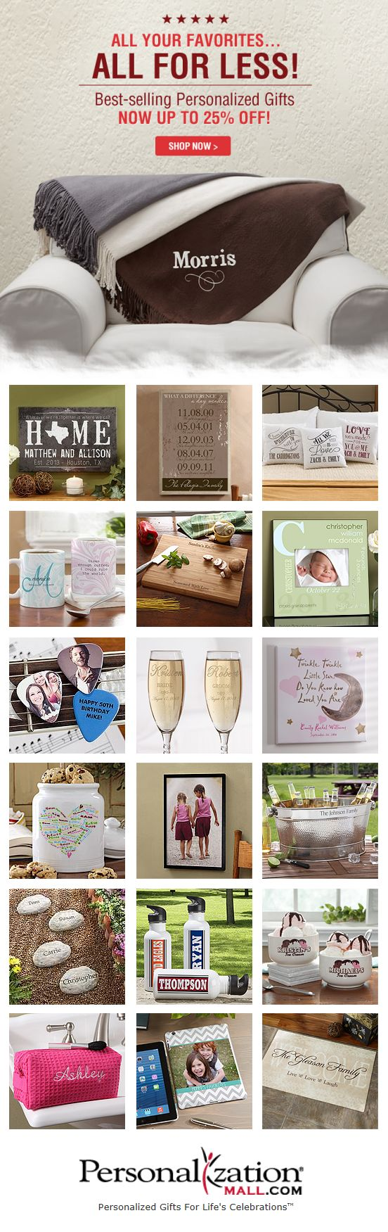 PersonalizationMall is having their HUGE Best Selling Personalized Gifts Sale! All of their best-selling gifts from every department are on sale! They have great wedding gifts, baby gifts, canvas art, kitchen and home gifts, pet gifts, office gifts and so much more! You HAVE to check them out!