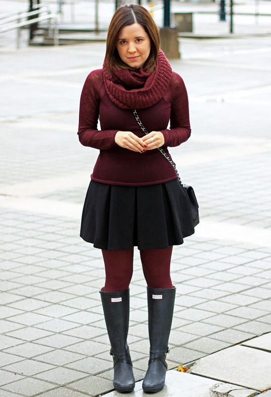 hunter boots, black skirt