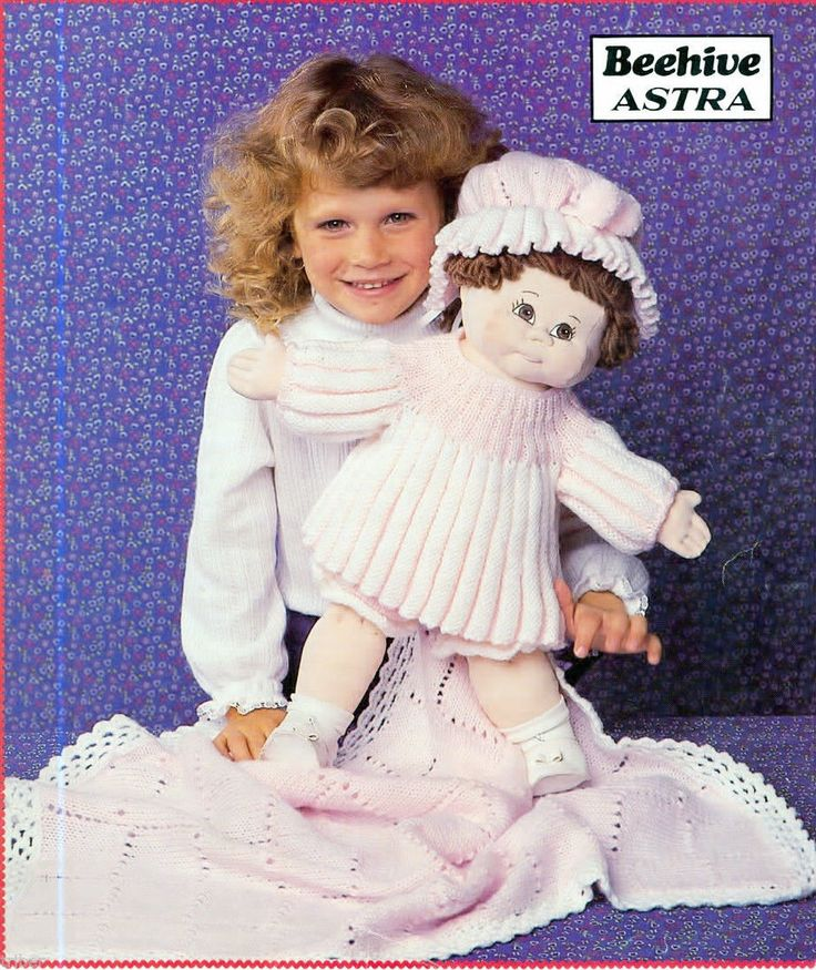 Knitting Patterns Cabbage Patch Doll Preemie Baby Dress Hat Blanket Bloomers ...