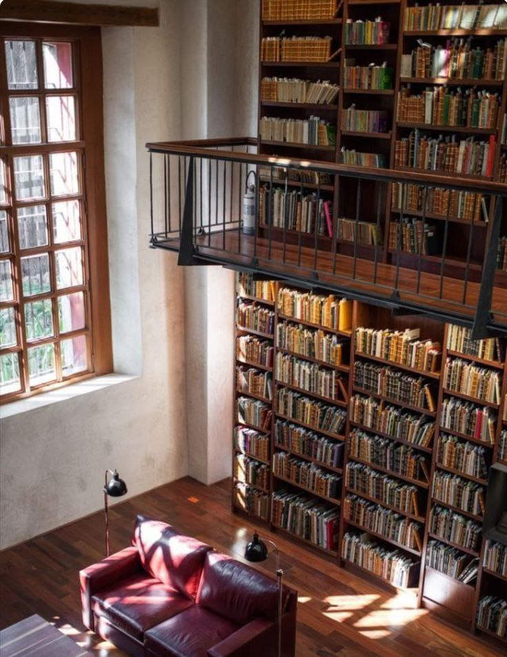 Home Library 2 Story With Large Window Home Libraries