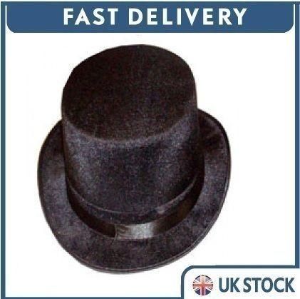 Black velour velvet top hat victorian ringmaster fancy dress ebay