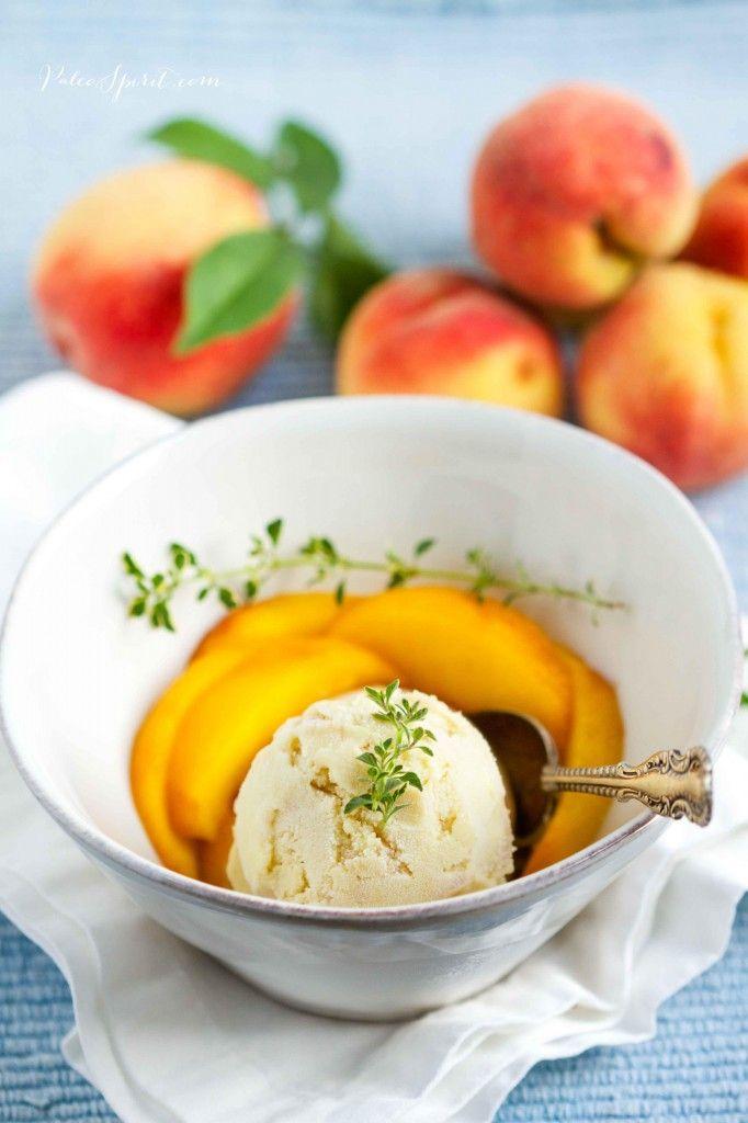 Peach, Basil And Lemon Thyme Sorbet Recipe — Dishmaps
