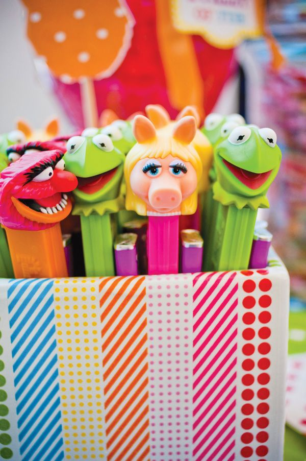 Vases decorated with Washi Tape and so many more fun details with this Muppet party! {muppet-theme-party-decorations-washi-tape}