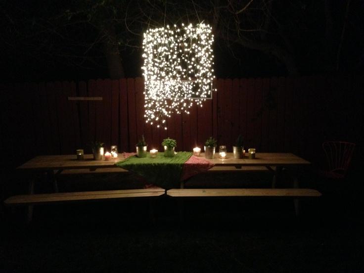 Christmas lights chandelier | Wedding Ideas | Pinterest