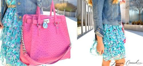 oversize pink carry-all purse, flirty floral dress and a denim jacket {can't go wrong}
