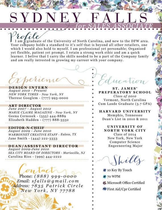 unique floral resume