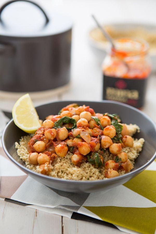 Spicy Chickpea & Spinach Stew with Harissa #wednesday