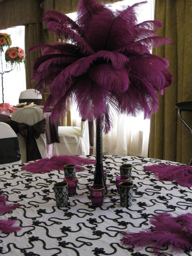 White ostrich feather centerpiece centerpieces pinterest
