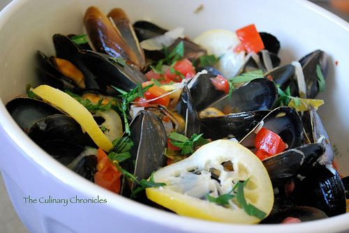 Spicy Mussels in White Wine - I doubled the amount of wine because I ...