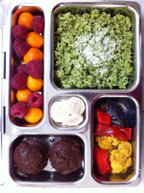 Spinach Pesto Rice, kumquats & raspberries, chocolate muffins, roast ...