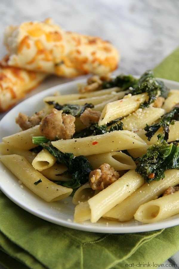 Chicken Sausage and Kale Pasta » Eat. Drink. Love.