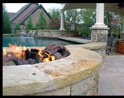 Backyard Fire Pit Laws :  house with guest house for in laws, pool, fire pit and outdoor kitchen