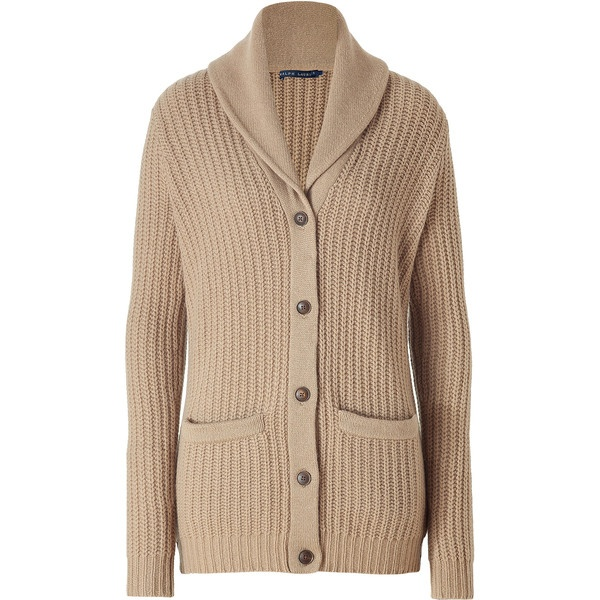 Ralph lauren camel shawl cardigan 415 liked on polyvore