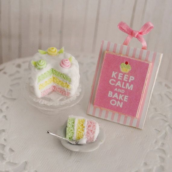 """Miniature Pastel Layer Cake With Rosettes, Slice Of Cake, And """"Keep C ..."""