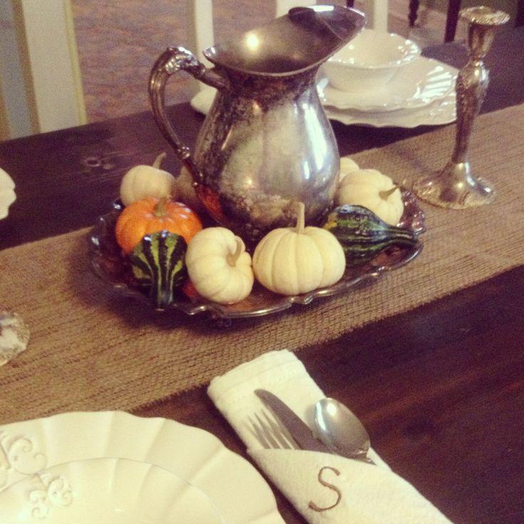 Pumpkin and gourd centerpiece nesting pinterest