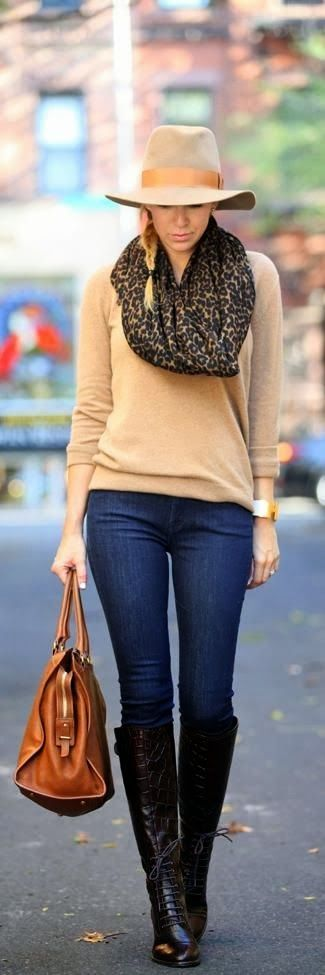 Attractive Fall Fashion With Blue Skinnies, Hat, Scarf. Long Booties And Bag