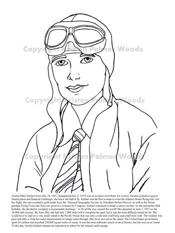 Amelia Earhart Coloring And Information Sheet