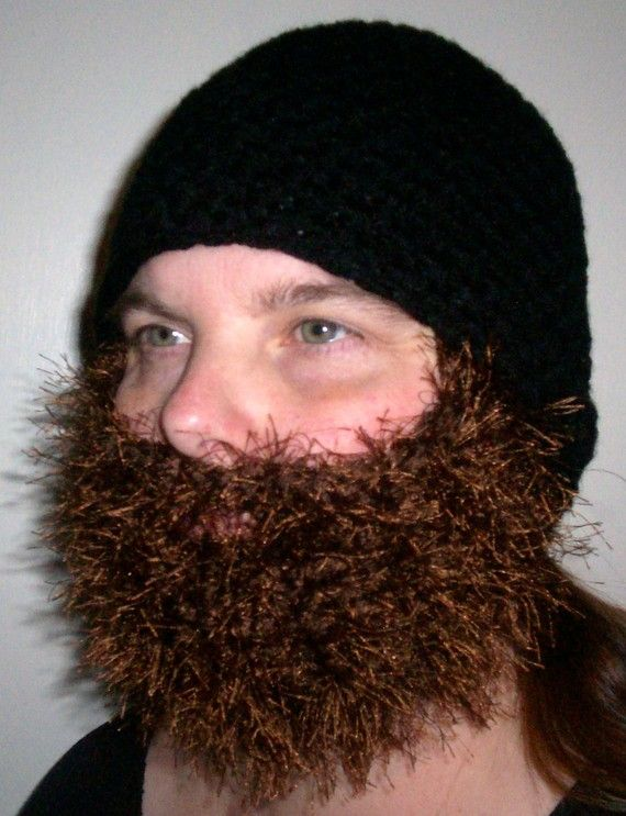 Crochet Hat With Long Beard Pattern : Black Hat with Brown Beard Beards Pinterest