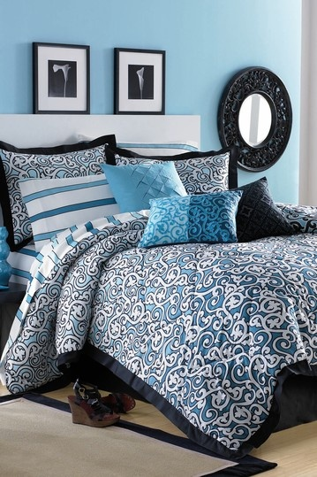 turquoise black and white bedding! Fun | For the Home | Pinterest
