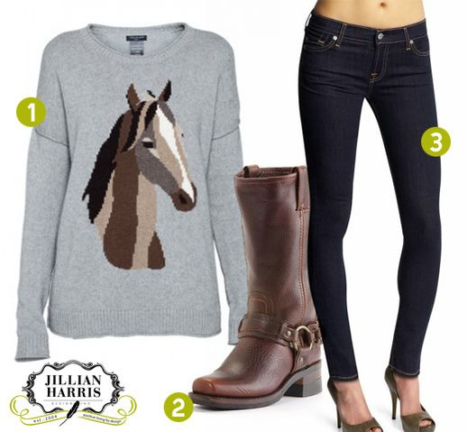 horse sweater, skinny jeans, and cute boots