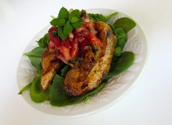 Marinated grilled Chicken Tenders with Strawberry Bruschetta Topping
