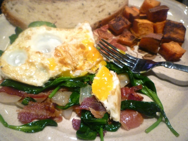 Bacon, Egg, and Spinach Salad...Oh and Sweet Potato Hash!