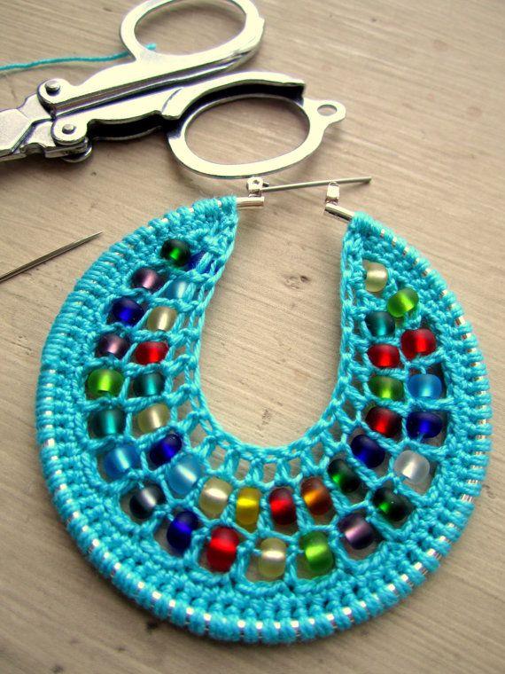 Crochet Jewelry Tutorial : Crochet Hoops Tutorial, PDF Pattern, Jewelry Tutorial,Crochet earrings ...