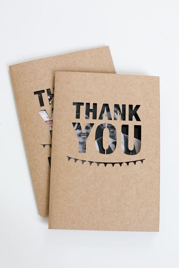 Stencil cut 'Thank You' cards....picture peeking through.