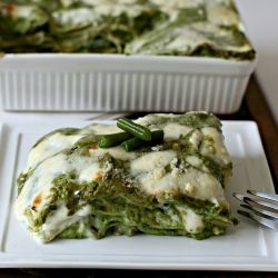 This is such a delicious vegitarian dish_ Pesto and green bean lasagne. Lovely with some fresh cherry tomatoes and fresh basil on top to garnish.