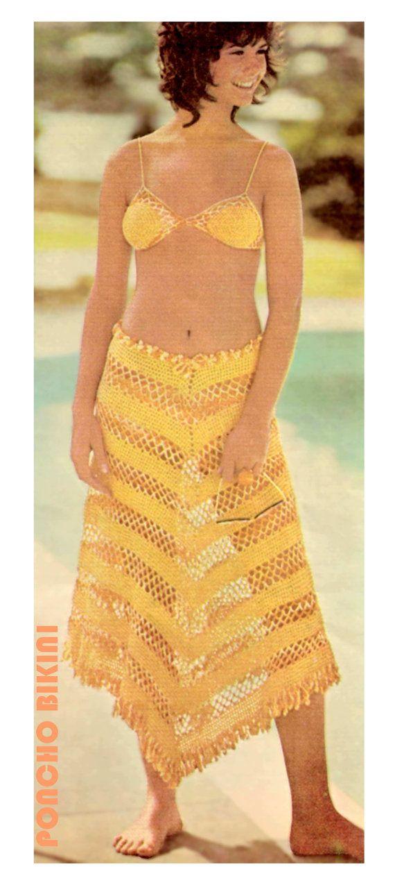 Crochet Bathing Suit : Vintage 70s Crocheted BIKINI PDF Pattern Swim Bathing Suit - PATTERN
