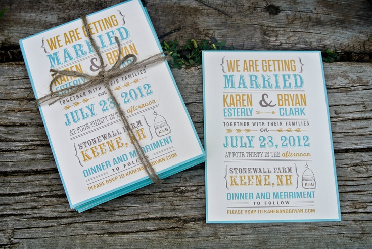 Wedding Invitation : Rustic and Modern Mason Jar.