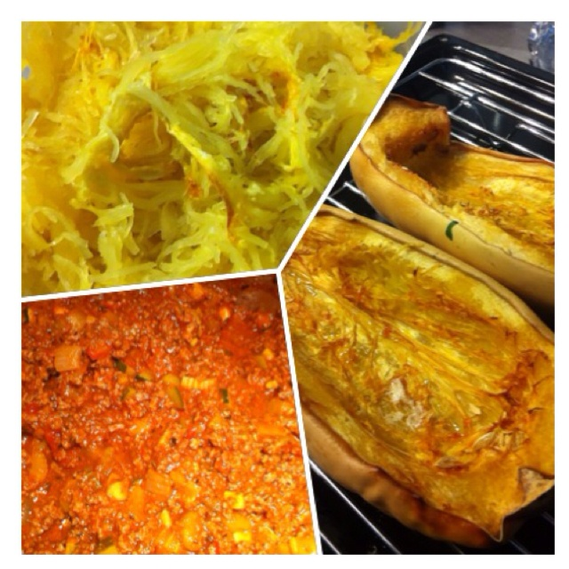 Spaghetti squash with meat sauce | Paleo/Gluten Free lifestyle | Pint ...