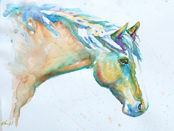 Watercolor horse cool things pinterest for Cool watercolour