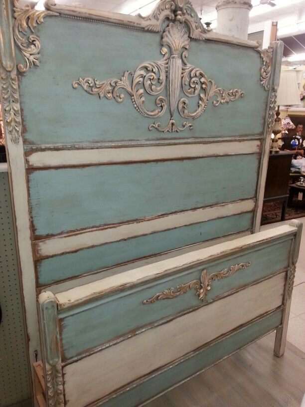 Antique Bed Painted With French Blue And Creamy Linen Farmhouse Paint