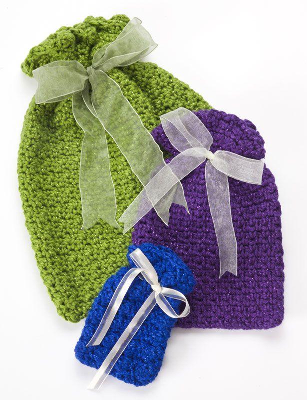 Free Crochet Pattern For Gift Bags : Crochet Gift Bags I gotta get a hobby! Pinterest