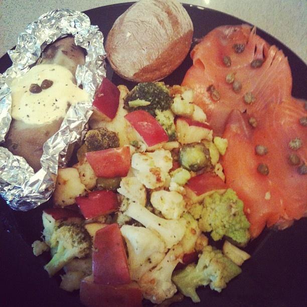 greek yogurt and mustard sauce. Pan-fried broccoli, cauliflower ...