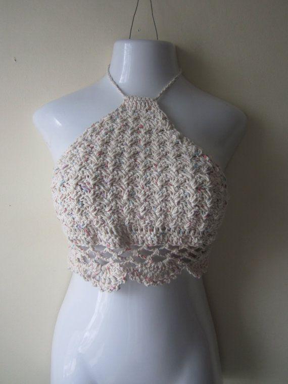 Crochet halter top, halter top, cropped top, bikini top, festival top ...