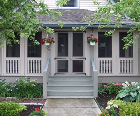 Enclosed porch from my front porch looking in pinterest for Screened front entry
